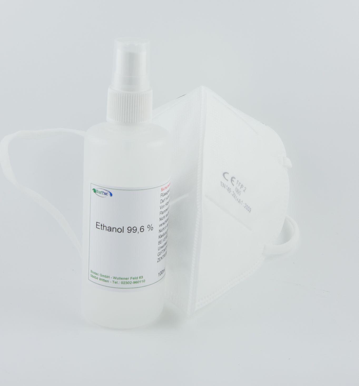FFP2 Atemschutzmaske zertifiziert nach FFP2-Norm gefaltet 1 Stück + 100ml Ethanol